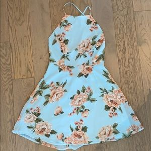 Floral summer dress with lace-up back